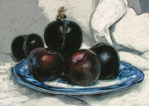 Plums on a Blue Willow Plate