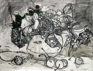 roses and cherries oil sketch