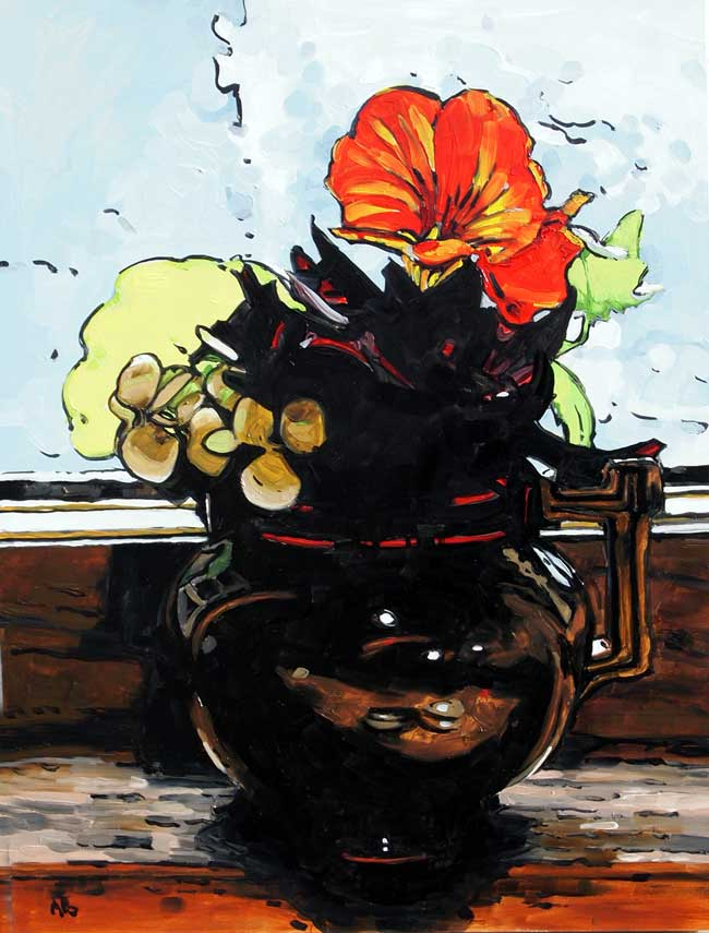 Brown Vase with Nasturtiums