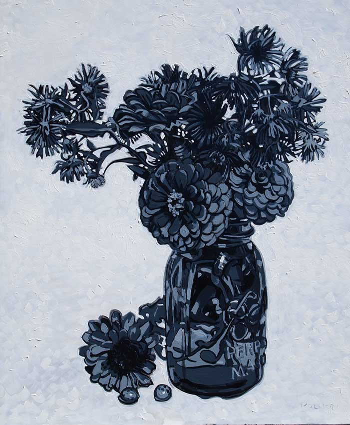 Grisaille of zinnias and asters