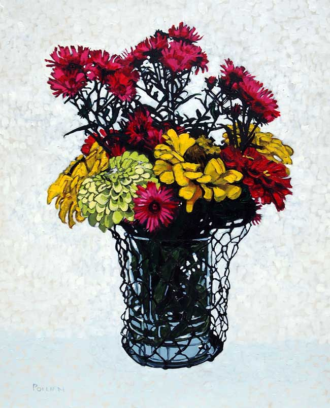 Asters in a Wire Vase