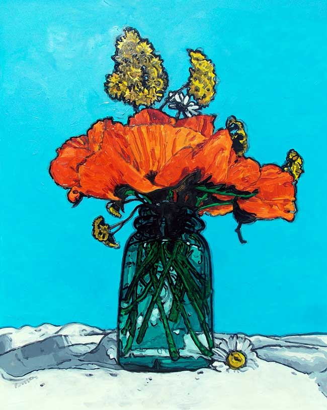 Poppies in a Blue Jar