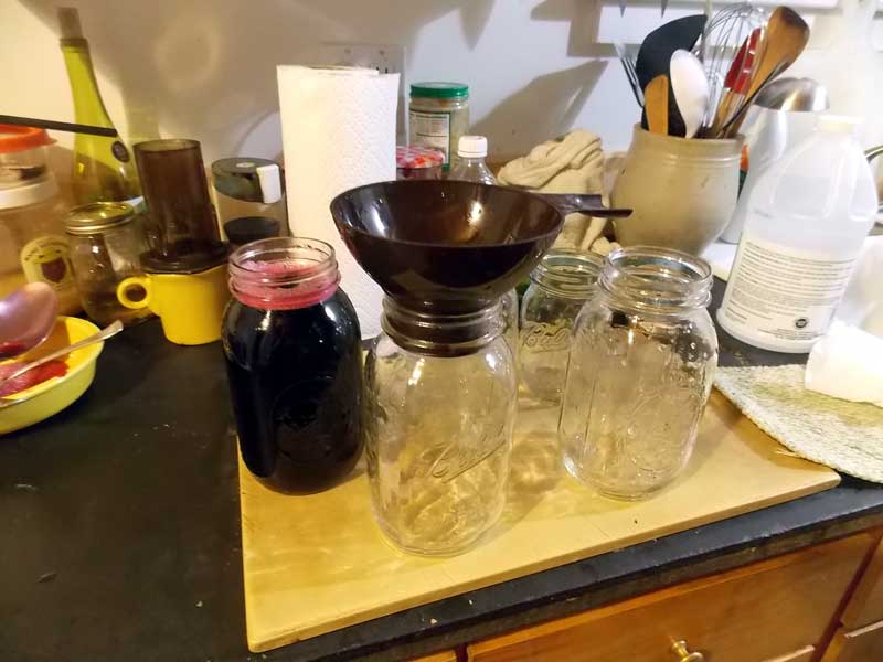 Jars of grape juice concentrate