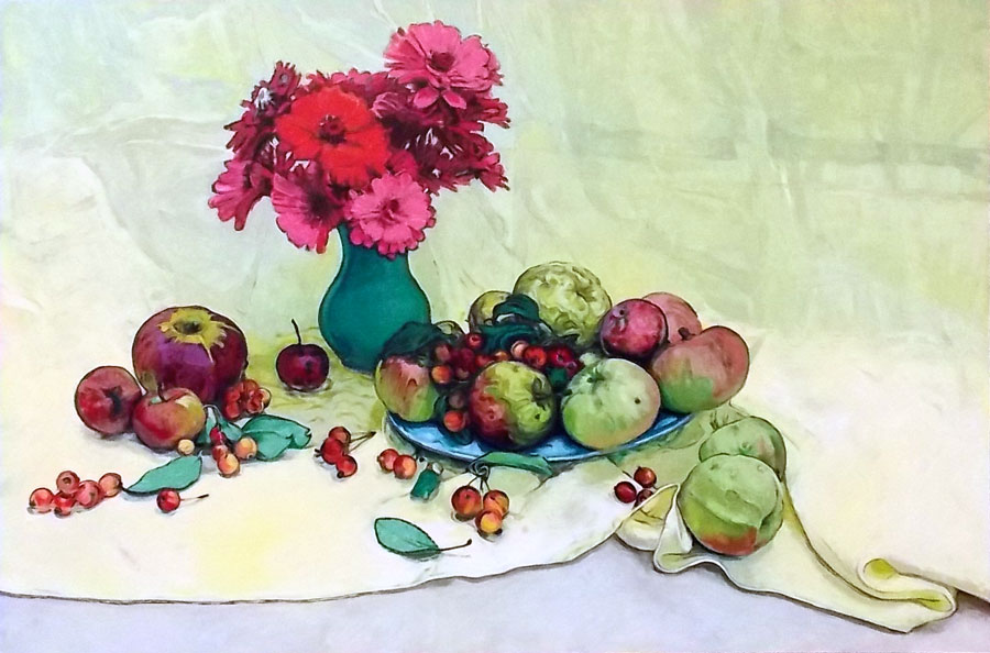 Apples and Zinnias