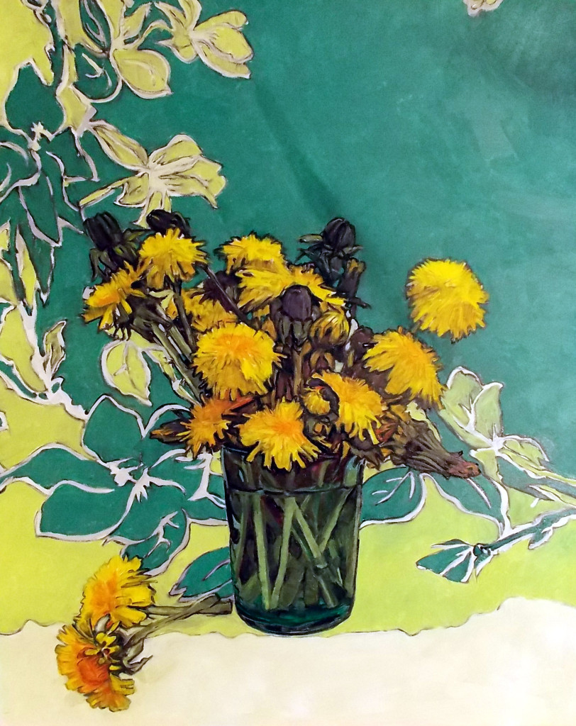 dandelions in a blue glass