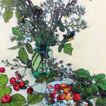 Blackberry branches with Ranier Cherries