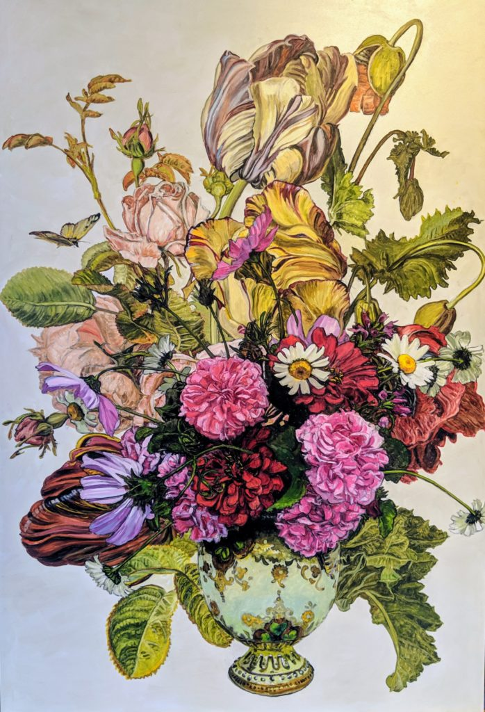 Still life painting of bouquet with botanical print by Dutch artist Gerald Spaendonck in the background