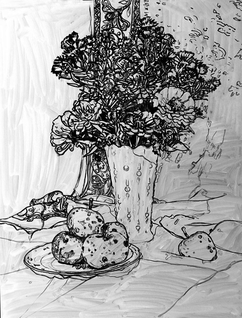 Black and white still life drawing