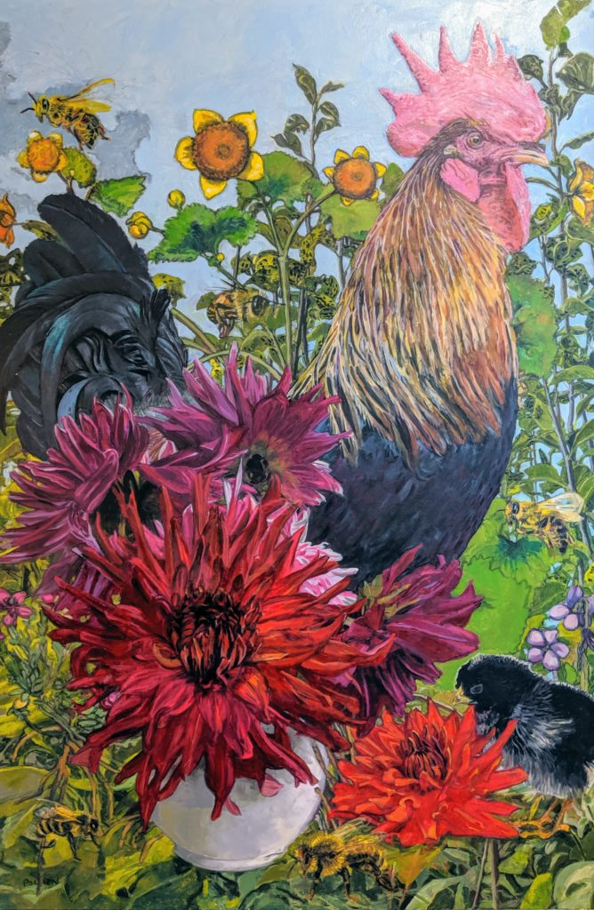 Red dahlias with a black Leghorn rooster, painting