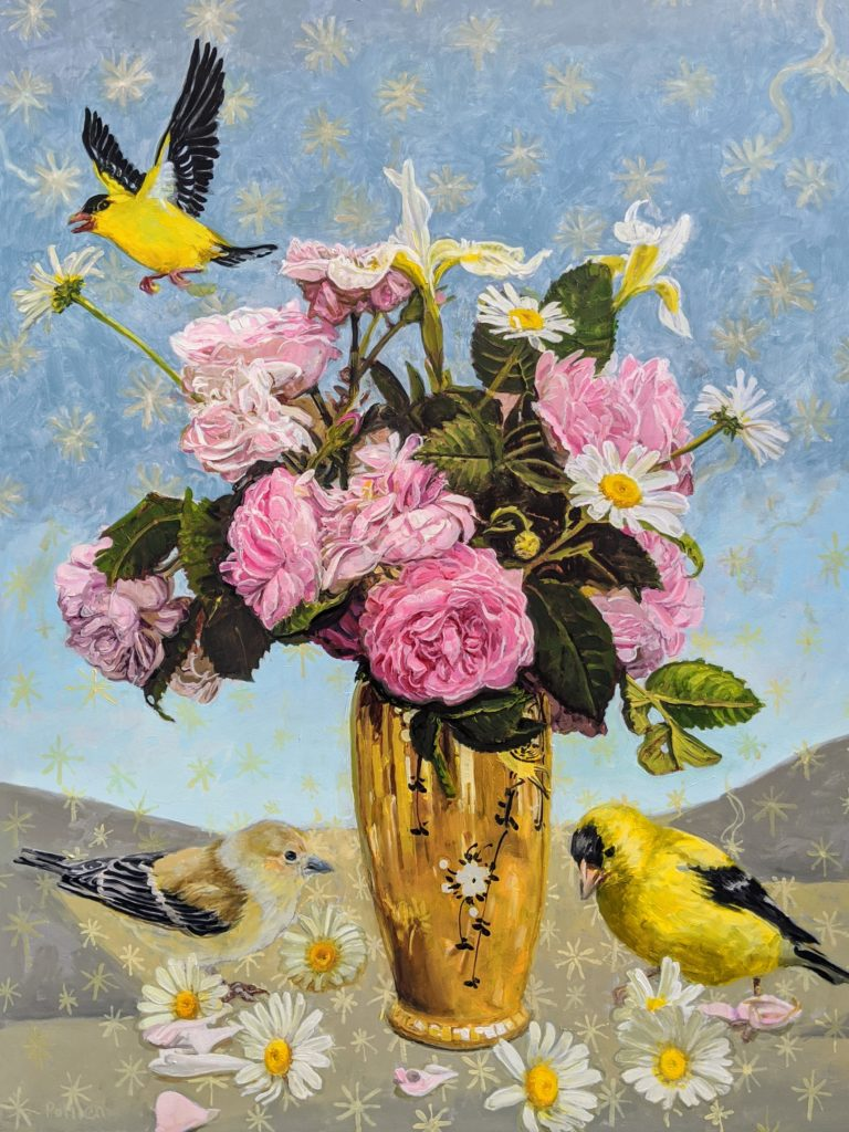 Goldfinches on a blue ground with a vase of pink roses and daisies.
